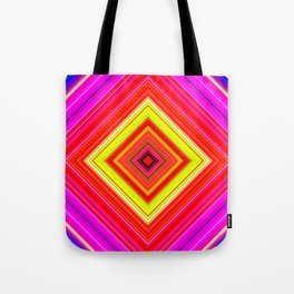 Rainbow Abstract Psychedelic Neon Dawn Triangle Design - Pink Red Violet Tote Bag