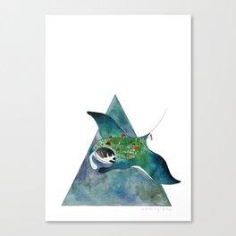 Manta Ray Loves The Earth Too Canvas Print
