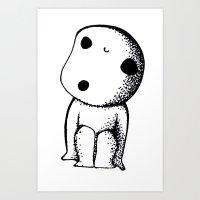 kodama Art Prints featuring KODAMA by lucidesu