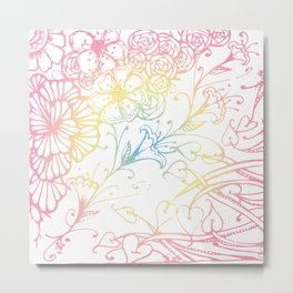 Floral Color Zenart Doodle Design Metal Print