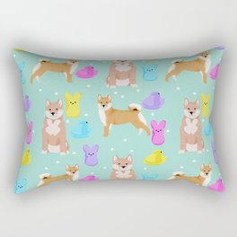Shiba Inu dog breed peeps marshmallow easter spring dog pattern gifts Shiba Inus Rectangular Pillow