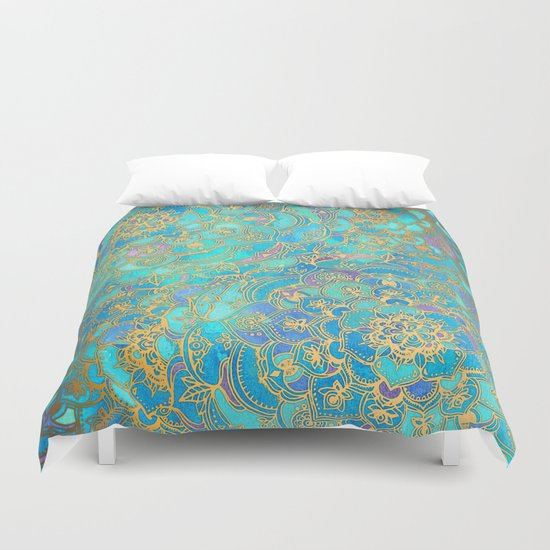 Sapphire & Jade Stained Glass Mandalas Duvet Cover