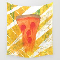 pizza Wall Tapestries featuring Pizza by Angelz