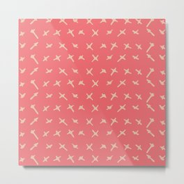 Pink sand brown abstract geometrical hand painted Metal Print