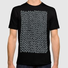 Hand Knit Grey Black MEDIUM Mens Fitted Tee