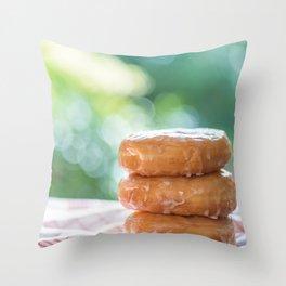 Fluffy donut Throw Pillow