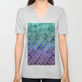 Blue Mermaid Fish Scales Ombre Unisex V-Neck