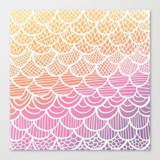 Modern hand drawn summer geometric mermaid scallop pink orange ombre watercolor Canvas Print