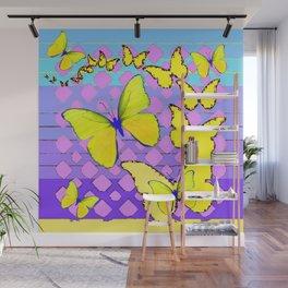 Yellow Butterflies Blue & Purple Pattern Abstract Wall Mural
