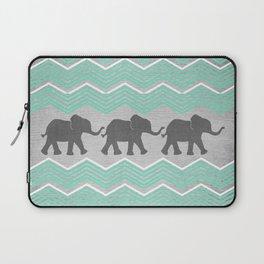 Three Elephants - Teal and White Chevron on Grey Laptop Sleeve