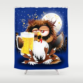 Drunk Owl with Beer Funny Character Shower Curtain
