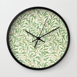 Vintage willow bough vintage illustration wall art print and poster design remix from the original artwork by William Morris. Wall Clock