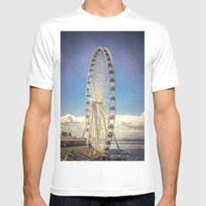 Seattle Great Wheel White Mens Fitted Tee MEDIUM