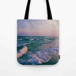 Sunset Crashing Waves Tote Bag