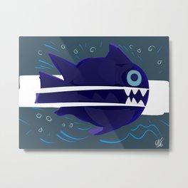 Blue fish illustration minimal design Metal Print