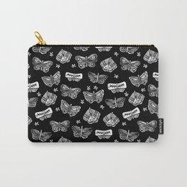 Linocut black and white butterflies butterfly garden nature minimalist pattern art decor Carry-All Pouch
