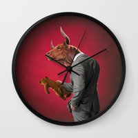 bull Wall Clocks featuring Bull by rob art | illustration