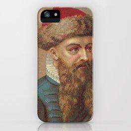 Vintage Johannes Gutenberg Illustration (1888) iPhone Case