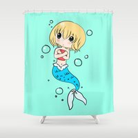 snk Shower Curtains featuring chibi mer!Armin by Sir-Snellby