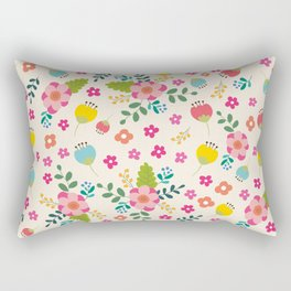 Cute Pastel Spring Flower Pattern Rectangular Pillow
