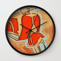 vespa Wall Clocks featuring Vespa by Wood Grian & Grits