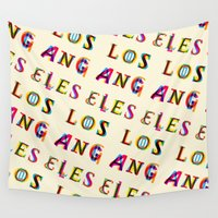 los angeles Wall Tapestries featuring Los Angeles by Fimbis