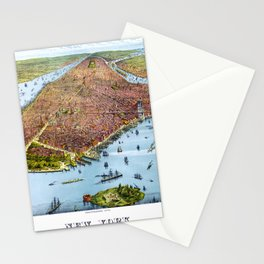 flat old map of new york Stationery Cards