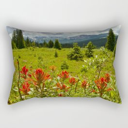 Red paintbrush with mountain view Rectangular Pillow