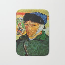 Van Gogh, Self-Portrait with Bandaged Ear and Pipe  – Van Gogh,Vincent Van Gogh,impressionist,post-i Bath Mat