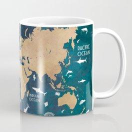 World Map Oceans Life blue #map #world Coffee Mug