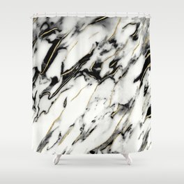 Classic White Marble Gold Foil Glam #1 #marble #decor #art #society6 Shower Curtain