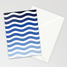 Ocean waves navy blue striped pattern, minimalist summer waves Stationery Cards