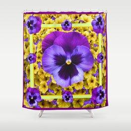 DECORATIVE PURPLE PANSIES & YELLOW PETUNIAS ART Shower Curtain