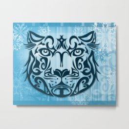 Tribal Graphic Design Illustration winter: Snow Leopard Metal Print