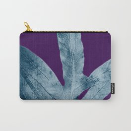 Midnight Sepia Navy Blue Purple Fern Carry-All Pouch
