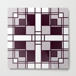 Neoplasticism symmetrical pattern in pinkish gray Metal Print