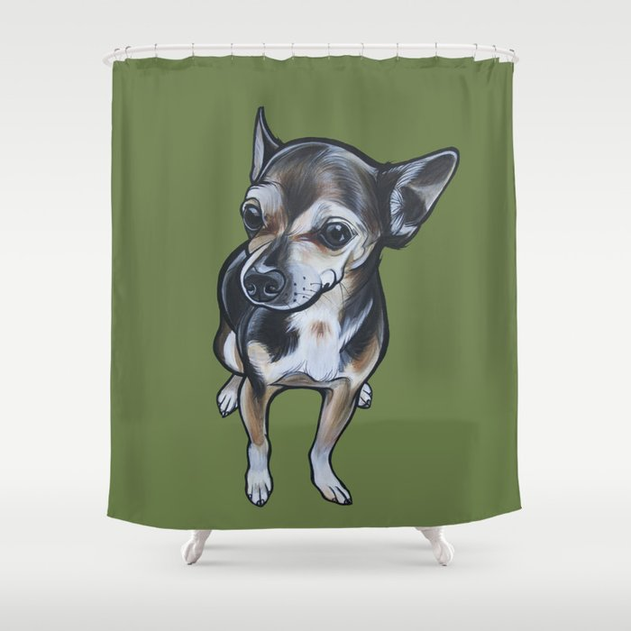 Artie The Chihuahua Shower Curtain By Pawblopicasso