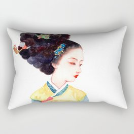 Watercolor Korean beauty - Red Bow Rectangular Pillow