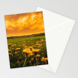 Dandelion Field Under Fiery Sky Stationery Cards