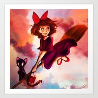 kiki Art Prints featuring Kiki by Beejutsu