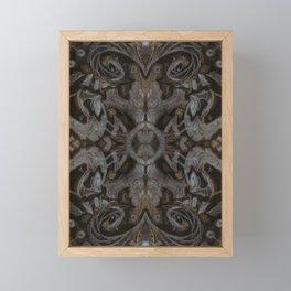 Curves & Lotuses, Black Brown Taupe Framed Mini Art Print