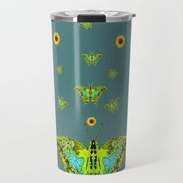 BLUE-GREEN-YELLOW PATTERNED MOTHS YELLOW SUNFLOWERS Travel Mug