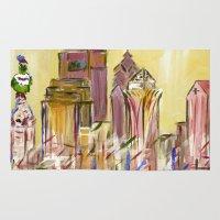 philadelphia Area & Throw Rugs featuring Philadelphia Skyline by Britt Miller Art
