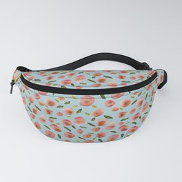 Poppies Hand-Painted Watercolors in Rose Pink on Sky Blue Fanny Pack
