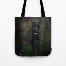 Black Halloween cat Tote Bag