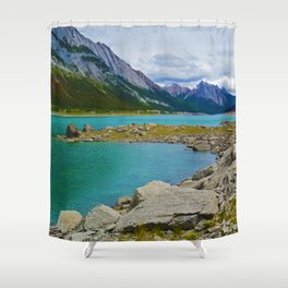 Medicine Lake in the Maligne Valley of Jasper National Park, Canada Shower Curtain