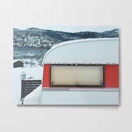 Snow-Covered Caravan in Frozen Winter Landscape in Scandinavia Metal Print