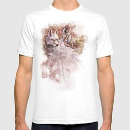 Miyazaki's Mononoke Hime - San and the Wolf TraDigital Painting T-shirt