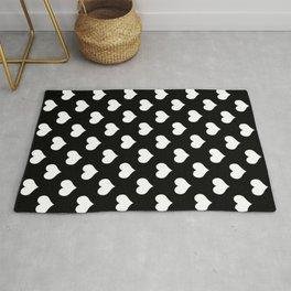 Black And White Hearts Minimalist Rug