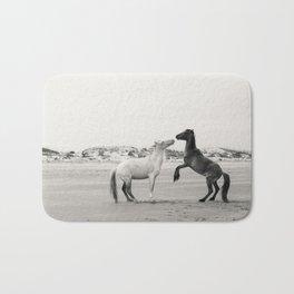 Wild Horses 4 - Black and White Bath Mat